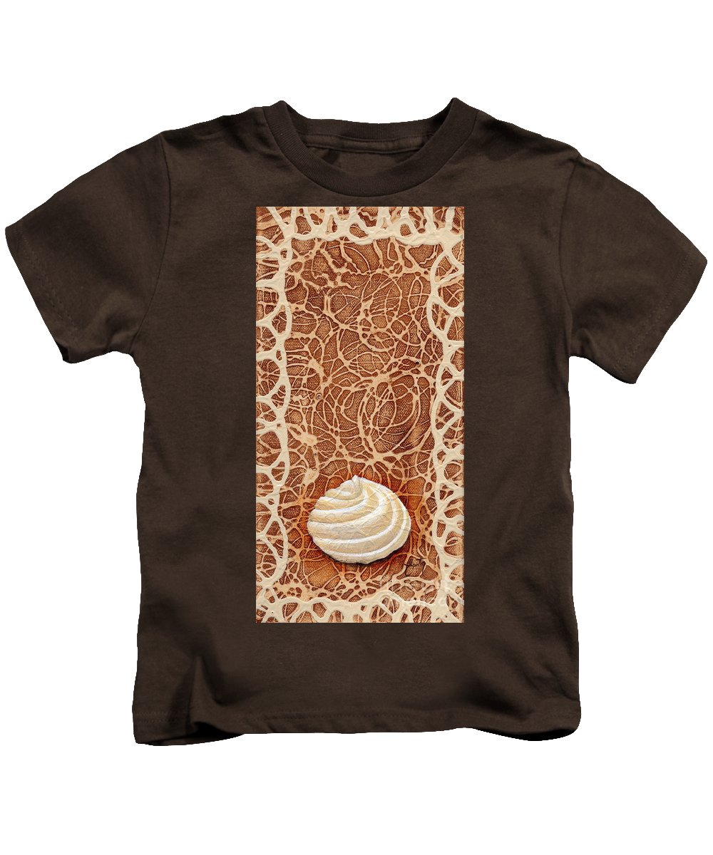 Painting Kids T-Shirt featuring the painting White Chocolate Swirl by Daniela Easter