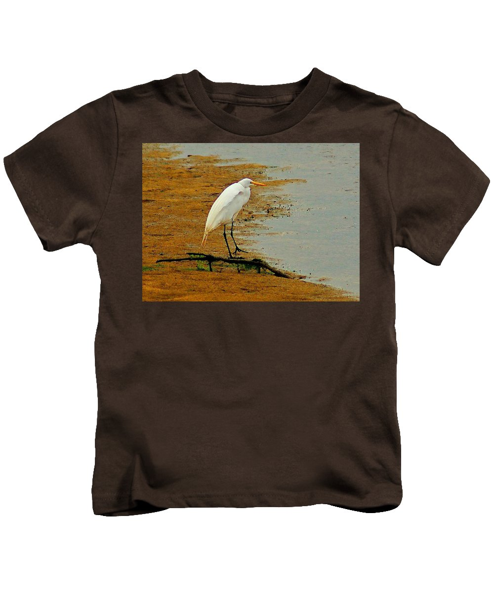 Egrets Kids T-Shirt featuring the photograph White Egret by Michael Thomas