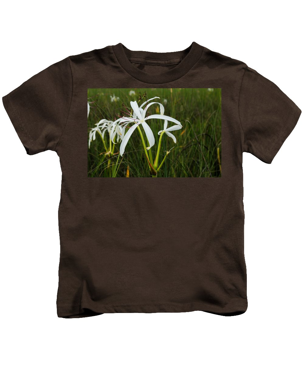 Lily Kids T-Shirt featuring the photograph White Lilies In Bloom by Christopher L Thomley