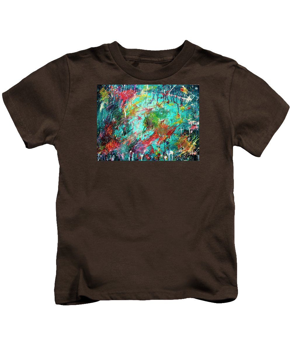 Abstract Kids T-Shirt featuring the painting White Rain by April Harker