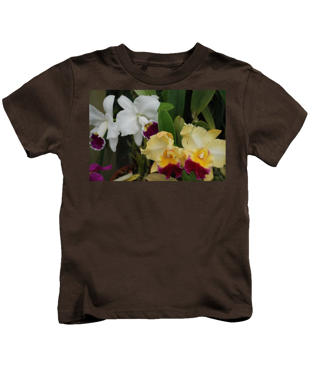 Macro Kids T-Shirt featuring the photograph White Yellow Orchids by Rob Hans