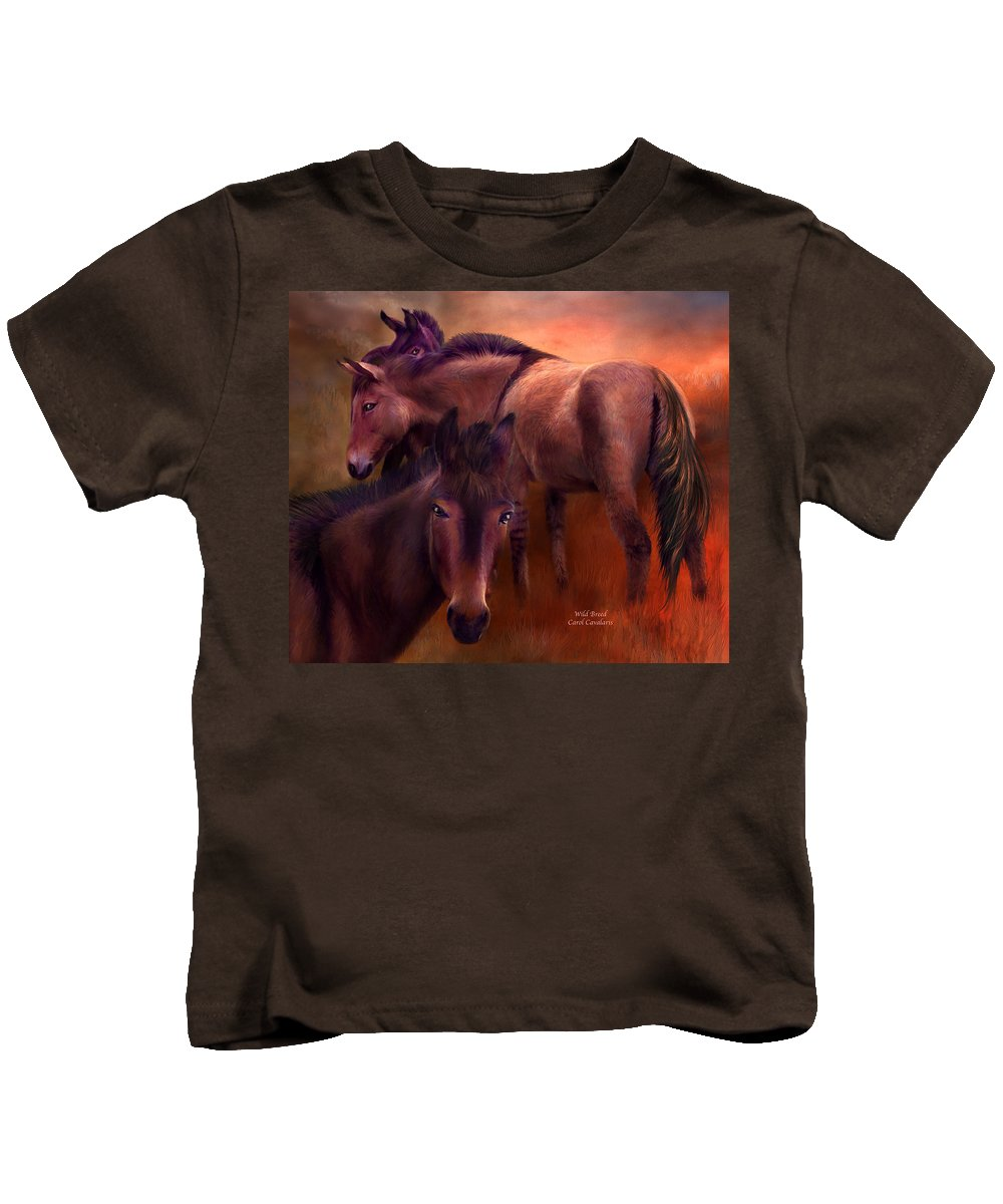 Horse Kids T-Shirt featuring the mixed media Wild Breed by Carol Cavalaris