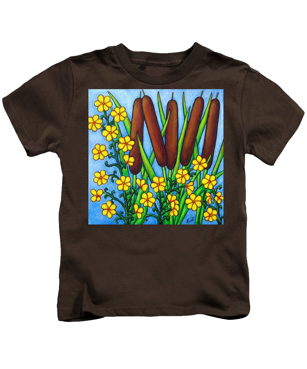 Cat Tails Kids T-Shirt featuring the painting Wild Medley by Lisa Lorenz