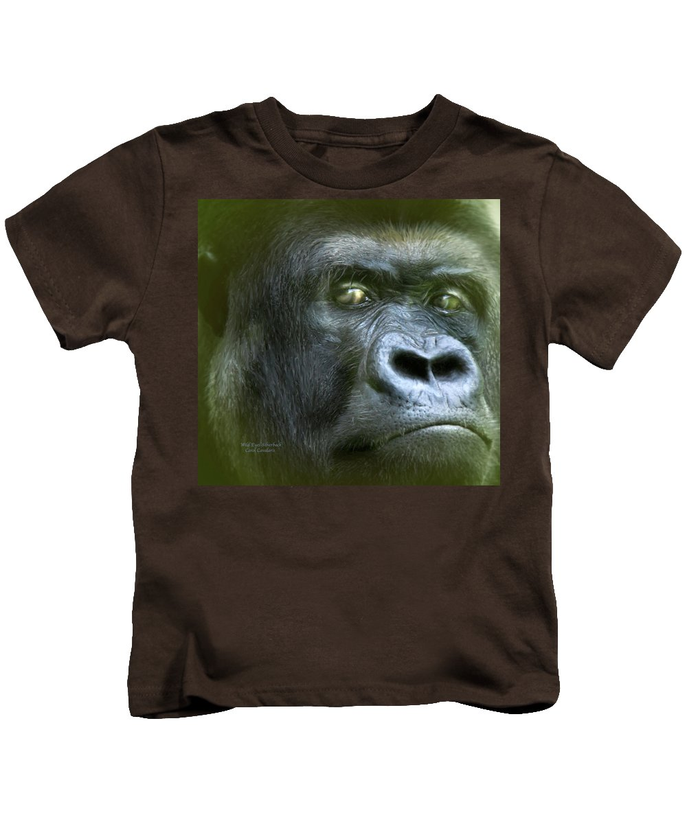 Gorilla Kids T-Shirt featuring the mixed media Wildeyes-silverback by Carol Cavalaris