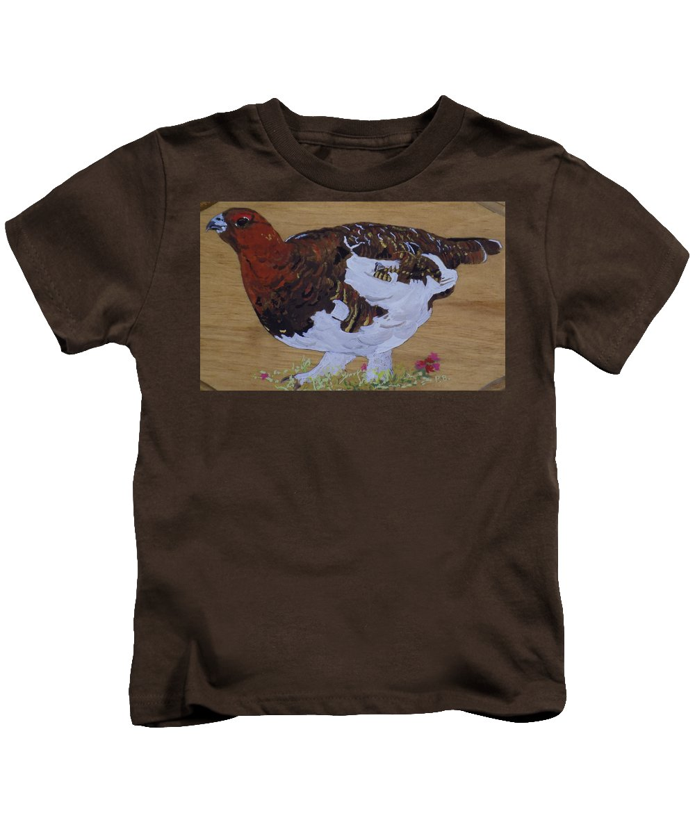 Alaska Kids T-Shirt featuring the painting Willow Ptarnagin by Paul Bashore