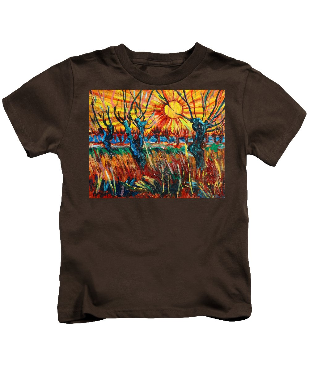 Van Gogh Kids T-Shirt featuring the painting Willows At Sunset - Study Of Vincent Van Gogh by Karon Melillo DeVega