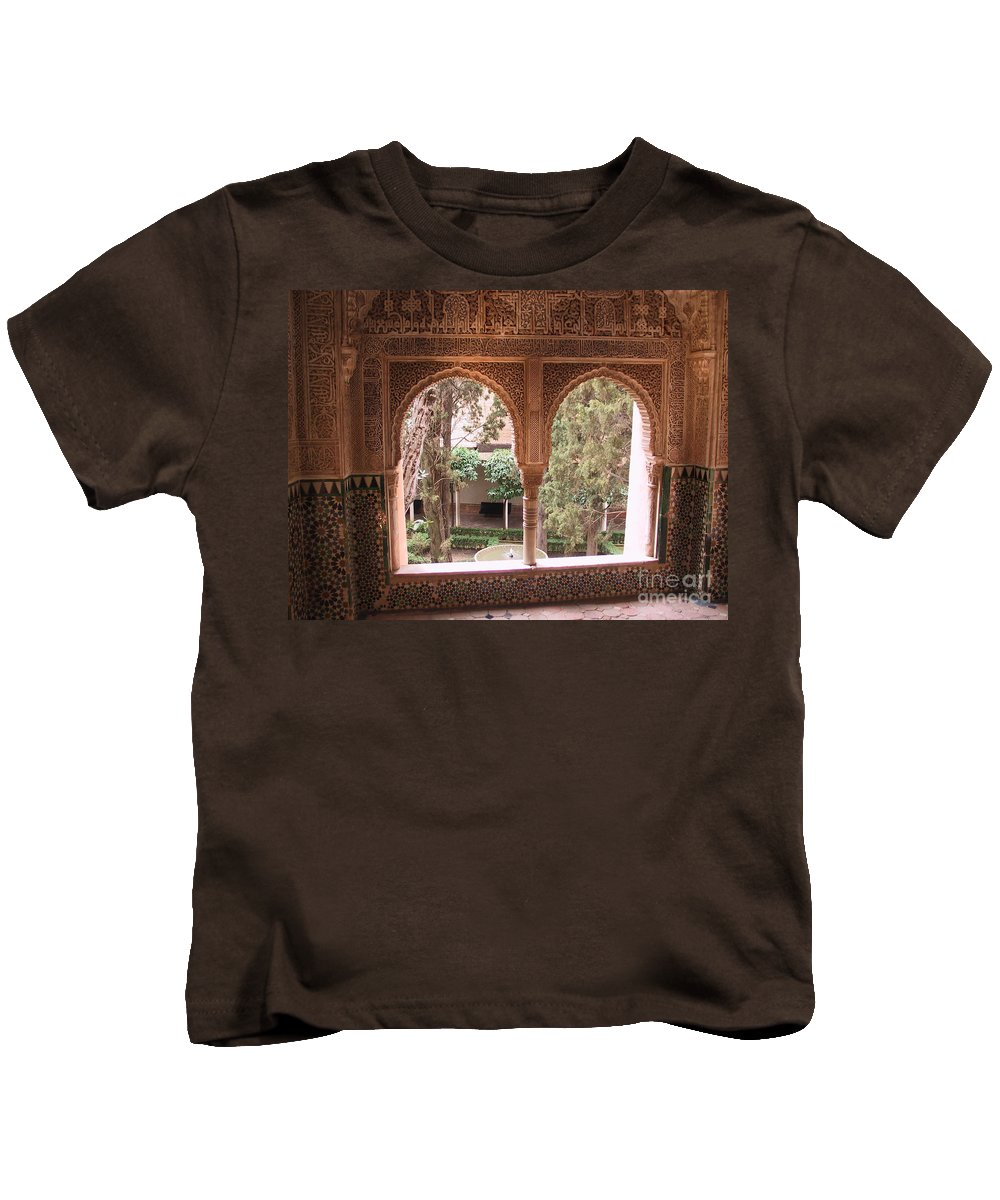 Window Kids T-Shirt featuring the photograph Window In La Alhambra by Thomas Marchessault