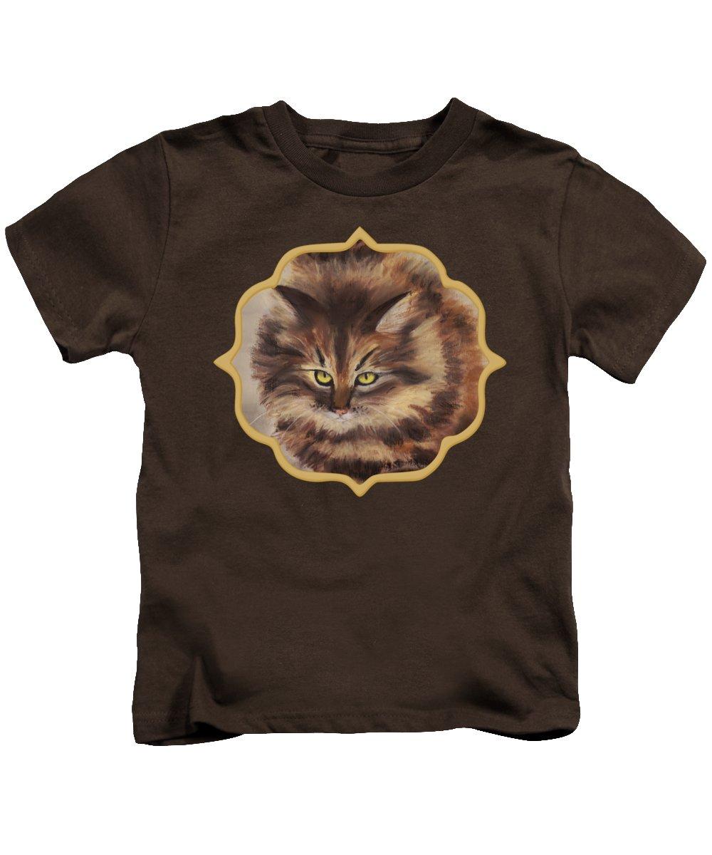 Malakhova Kids T-Shirt featuring the painting Winter Cat by Anastasiya Malakhova