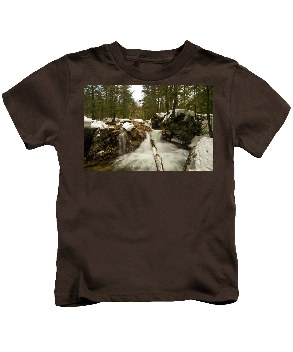 white Mountains Kids T-Shirt featuring the photograph Winter Falls by Paul Mangold
