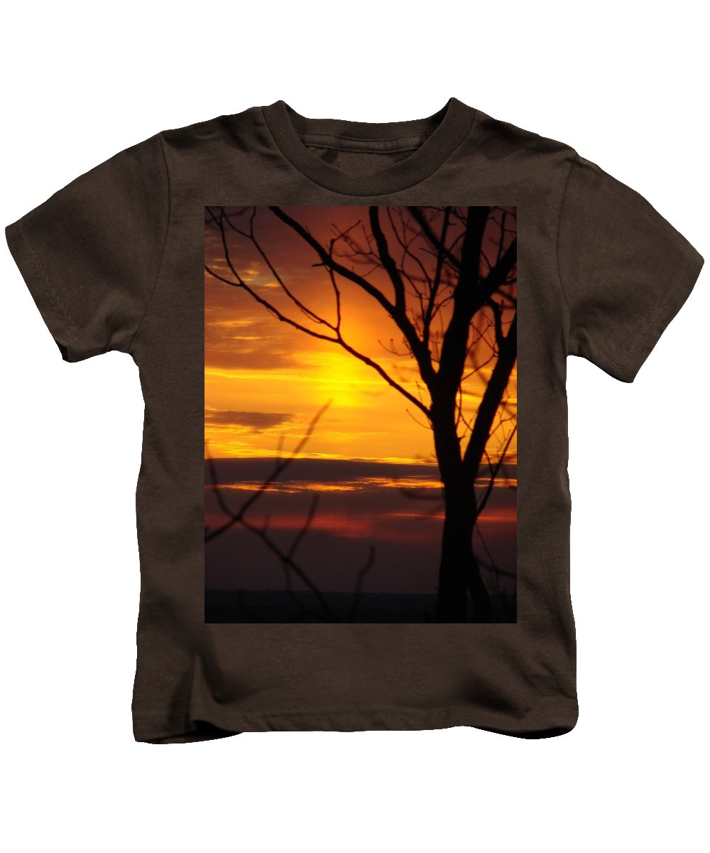 Landscape Kids T-Shirt featuring the photograph Winter Sunset by Mark Hill