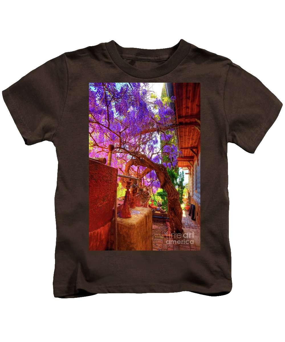 Wisteria Kids T-Shirt featuring the photograph Wisteria Canopy In Bisbee Arizona by Charlene Mitchell