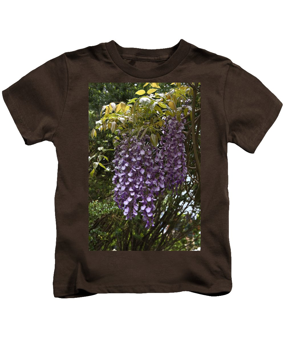 Wisteria Kids T-Shirt featuring the photograph Wisteria by Sally Weigand