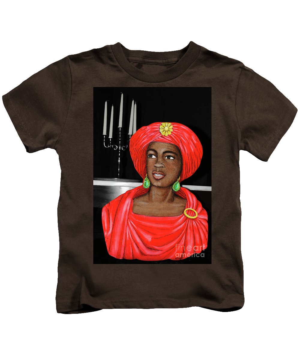 African-american Kids T-Shirt featuring the photograph Woman Of The Candelabra by Jost Houk