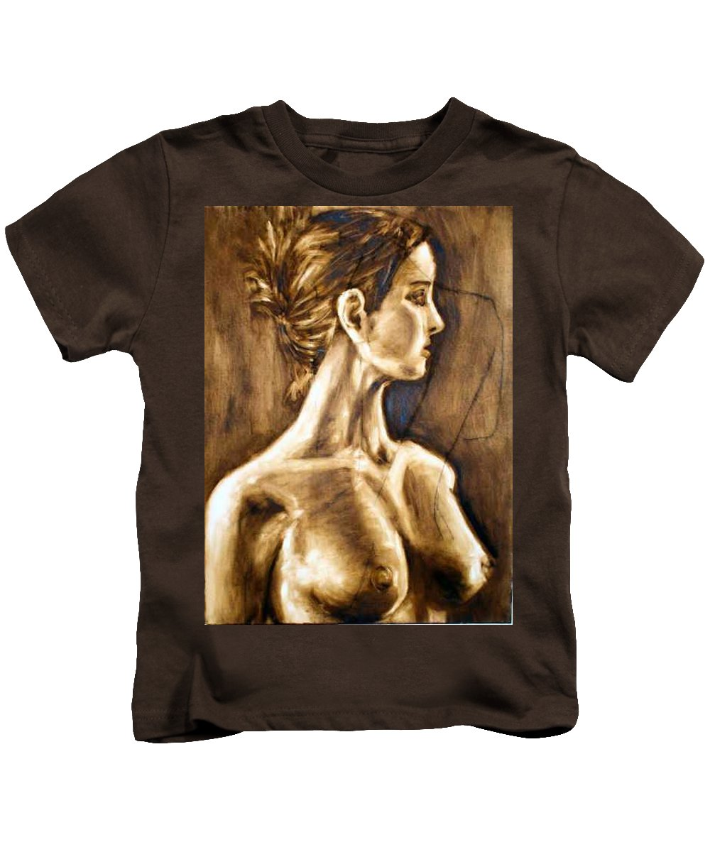 Kids T-Shirt featuring the painting Woman by Thomas Valentine