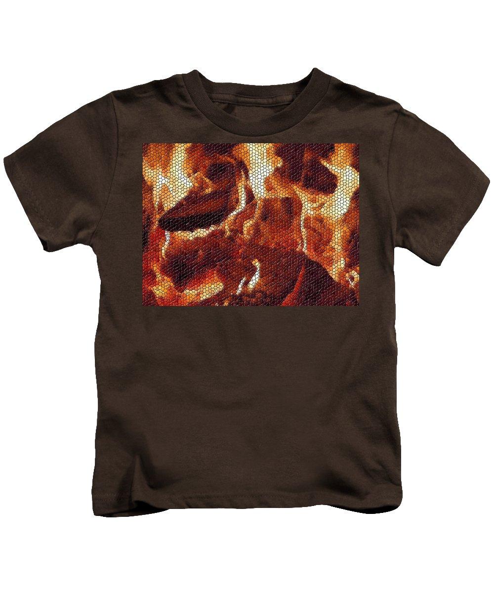 Wood Kids T-Shirt featuring the digital art Wood Fire Mosaic by Tim Allen