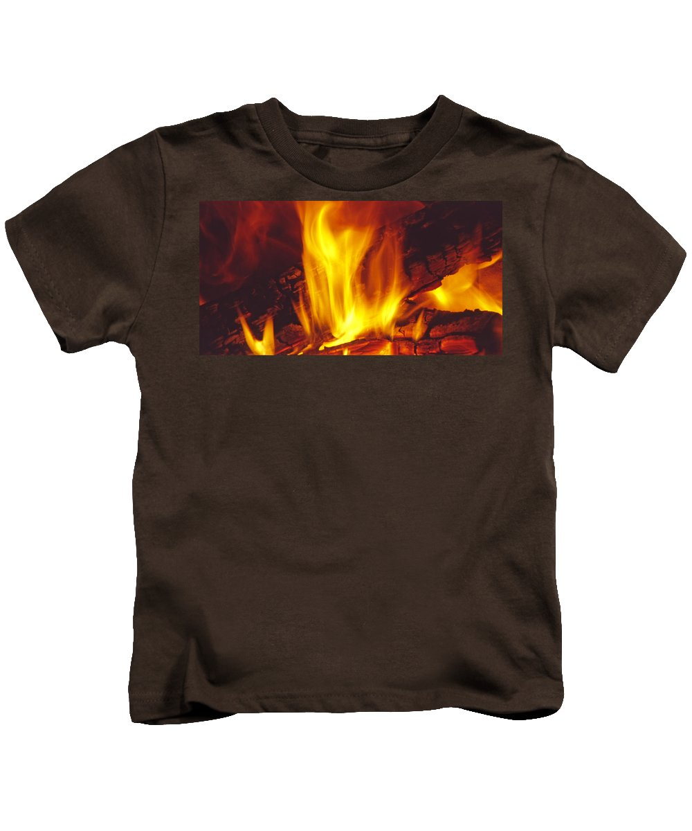 Fire Kids T-Shirt featuring the photograph Wood Stove - Blazing Log Fire by Steve Ohlsen