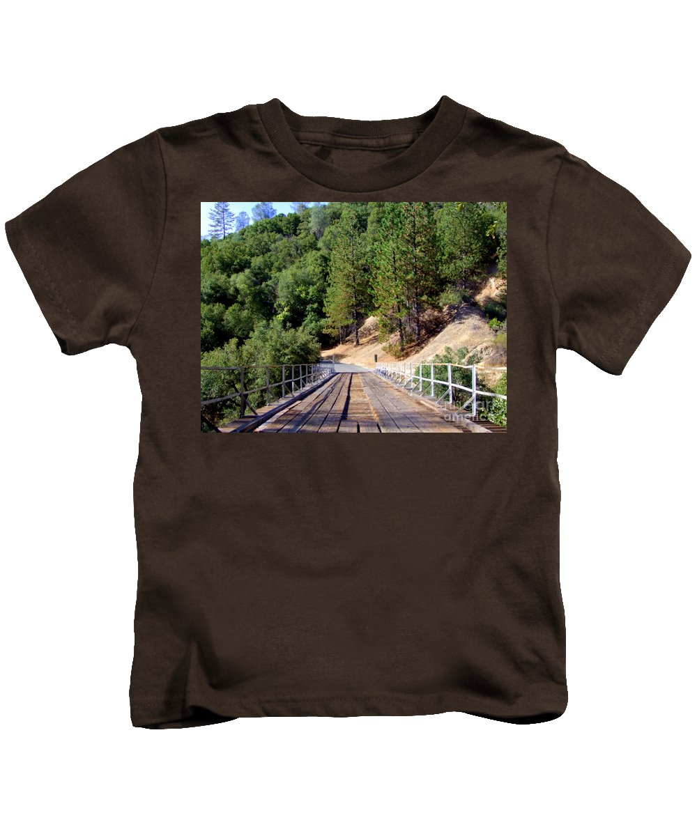 Wood Bridge Kids T-Shirt featuring the photograph Wooden Bridge Over Deep Gorge by Mary Deal