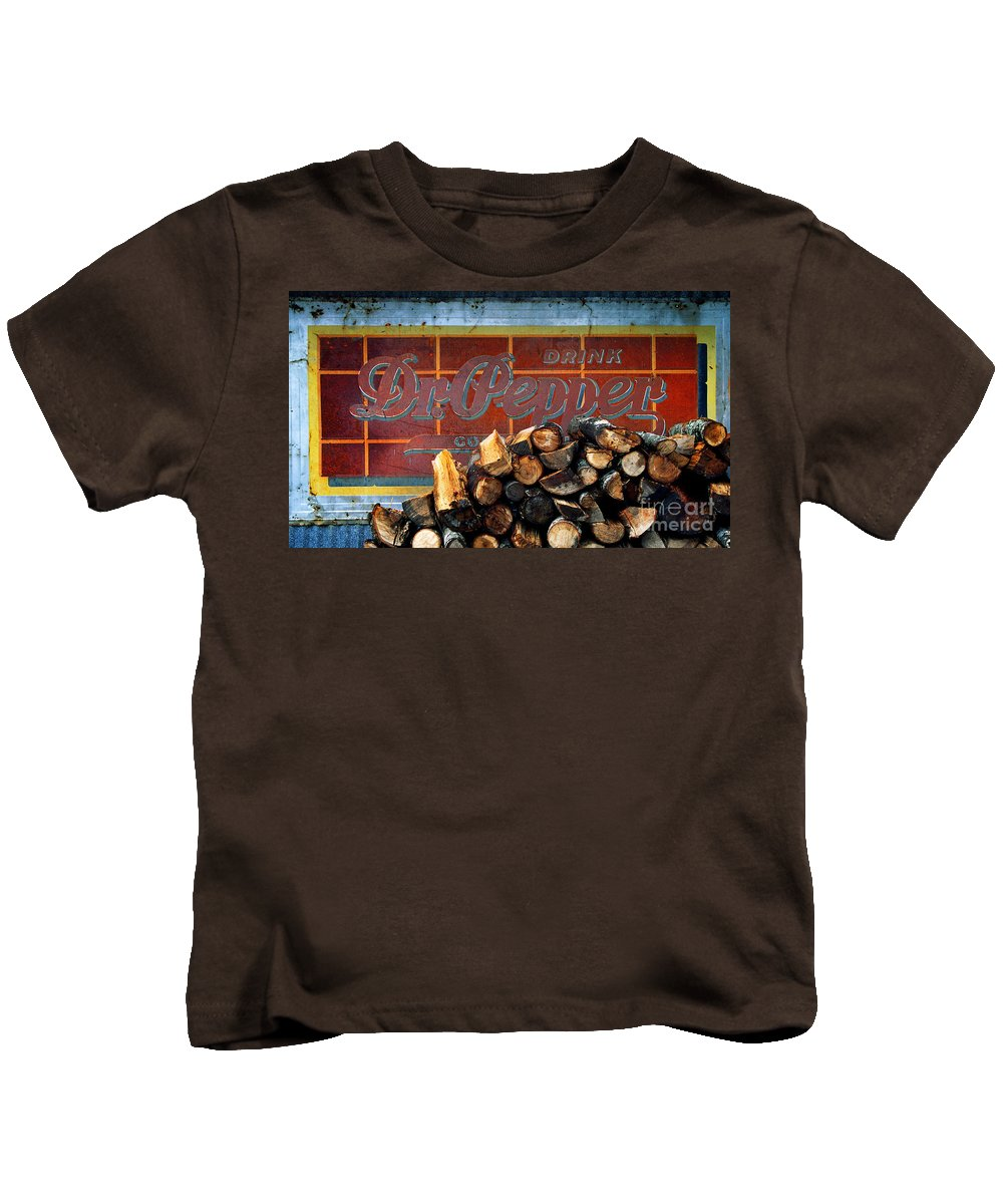 Dr Pepper Kids T-Shirt featuring the photograph Woodpile With Taste - Dr Pepper Rustic Antique Red Country Southwest by Jon Holiday