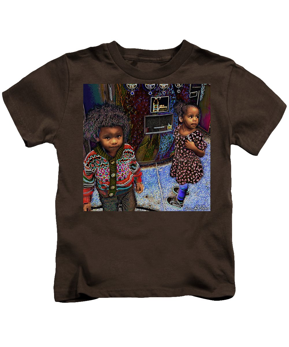 Siblings Kids T-Shirt featuring the photograph Woogie And Thumbalina by Iowan Stone-Flowers