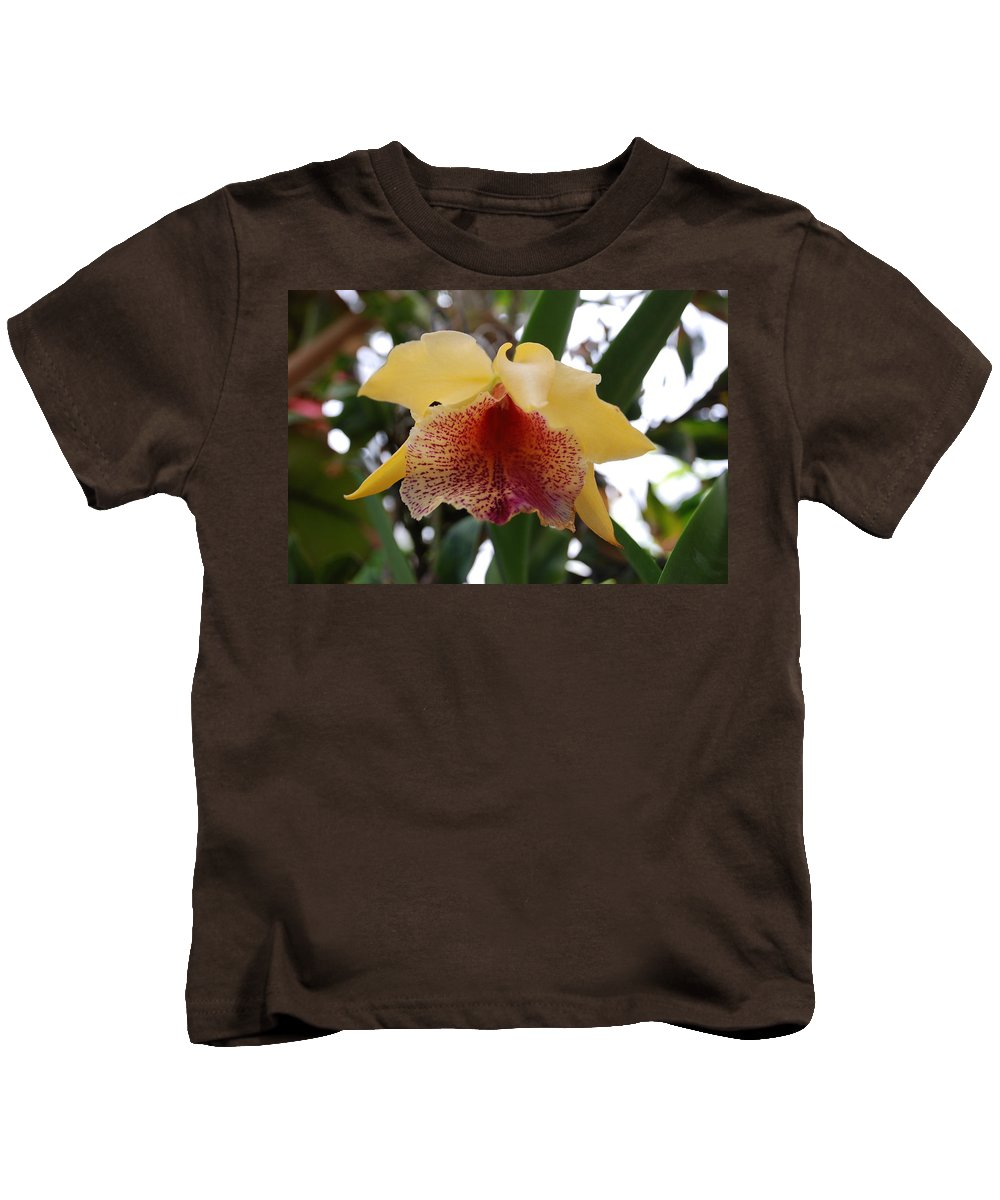 Macro Kids T-Shirt featuring the photograph Yellow Red Orchid by Rob Hans