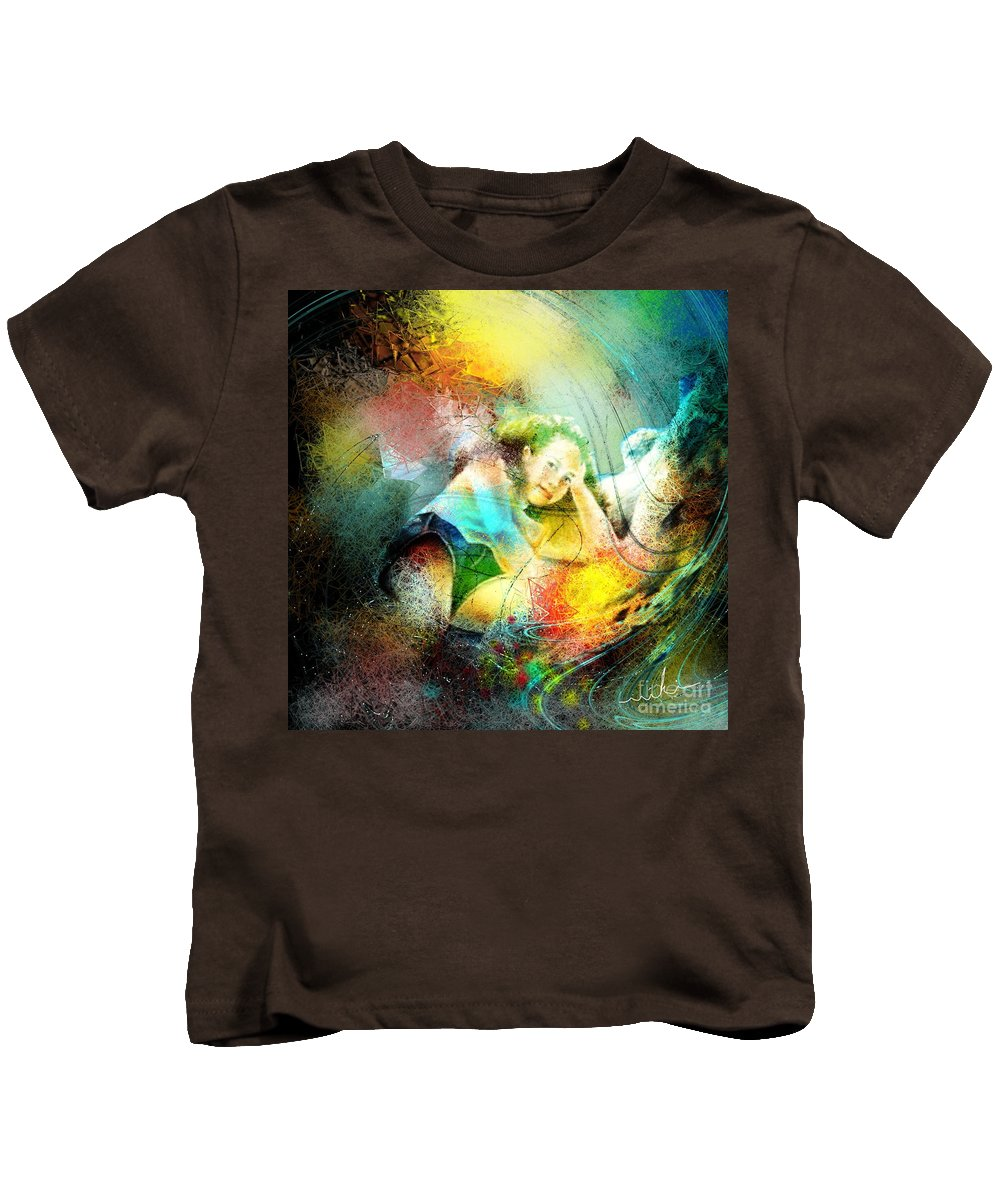 Nature Kids T-Shirt featuring the painting Young Seduction by Miki De Goodaboom
