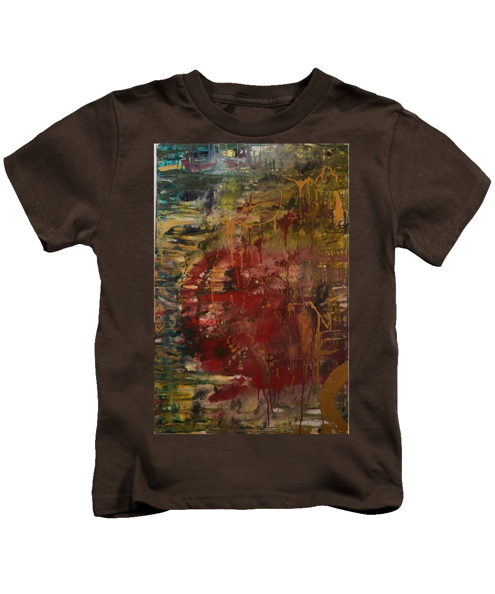Modern Abstract Kids T-Shirt featuring the painting Zen Forest by Maria Isabel Storniolo