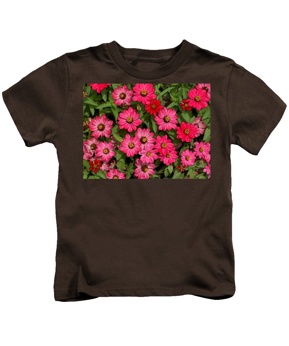 Zinnia Kids T-Shirt featuring the photograph Zinnia Riot Watercolor by Carolyn Jacob