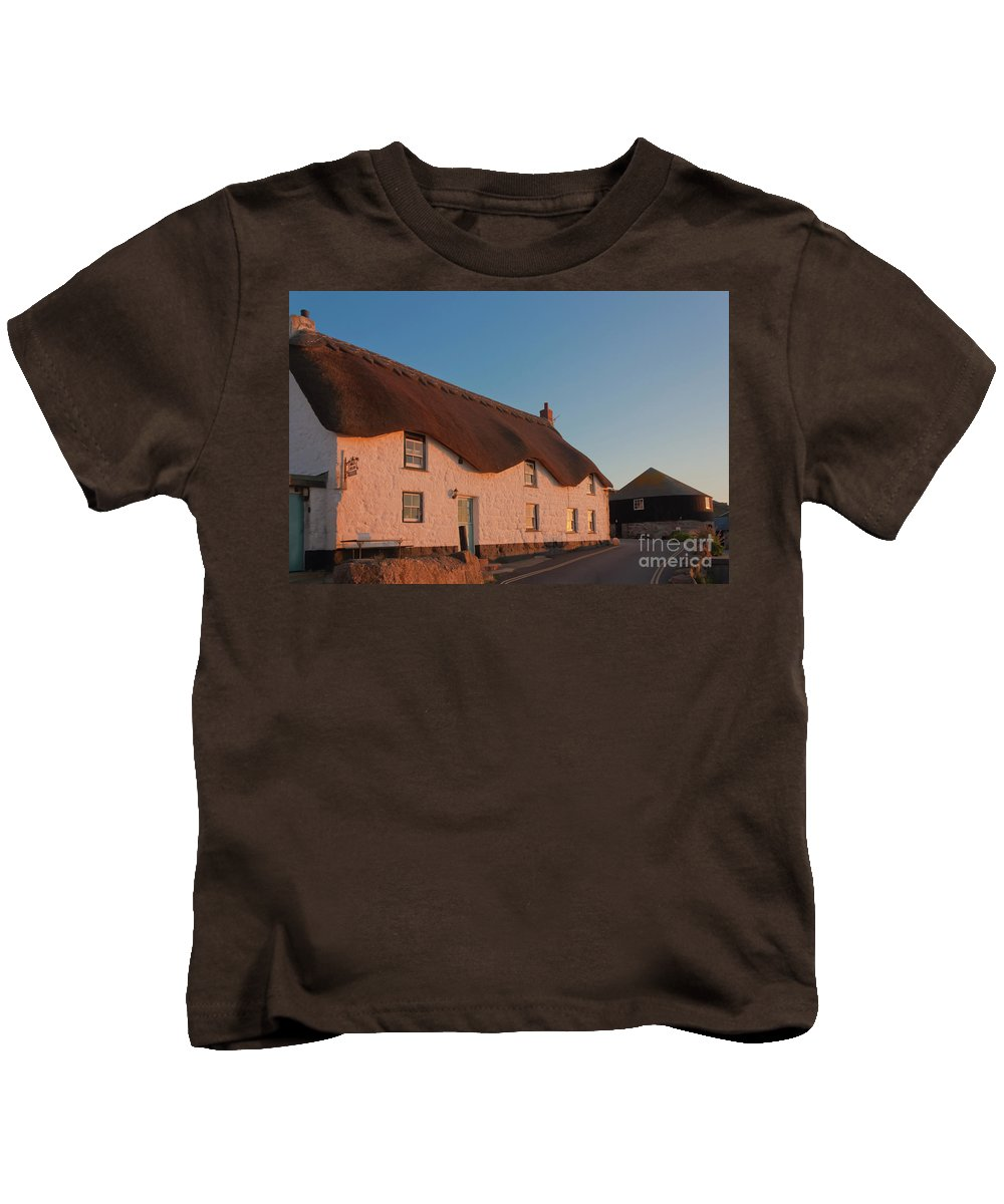 Tinker Taylor Cottage Kids T-Shirt featuring the photograph Tinker Taylor Cottage Cornwall by Terri Waters