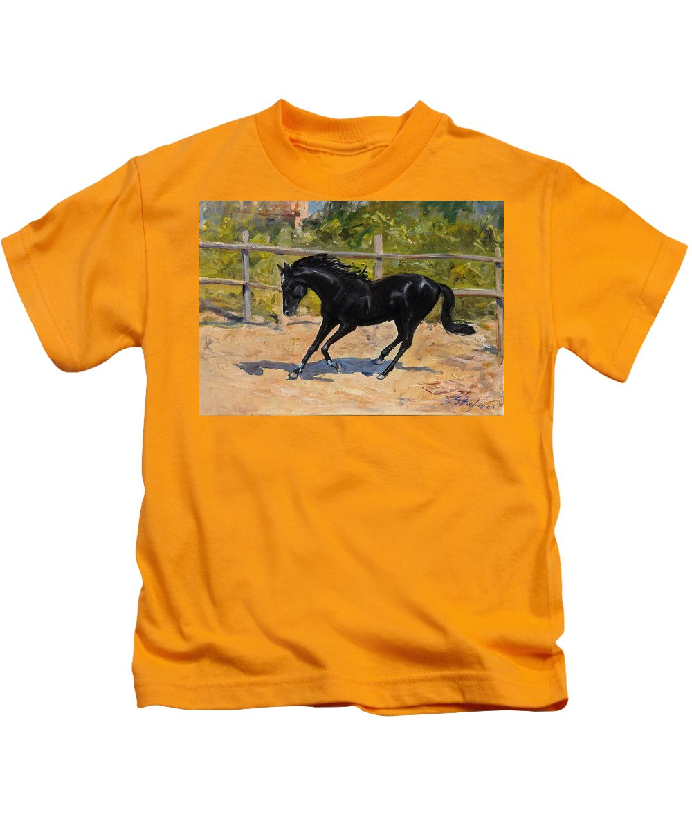 Horse Kids T-Shirt featuring the painting Black Horse by Sefedin Stafa