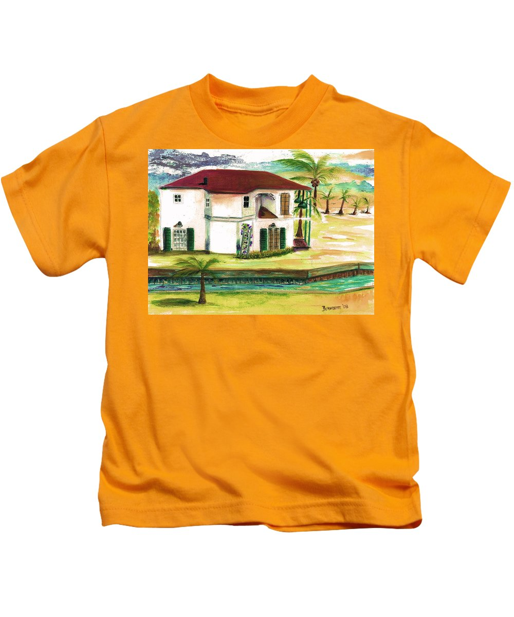Fort Lauderdale Kids T-Shirt featuring the painting Fort Lauderdale Waterway by Bernadette Krupa