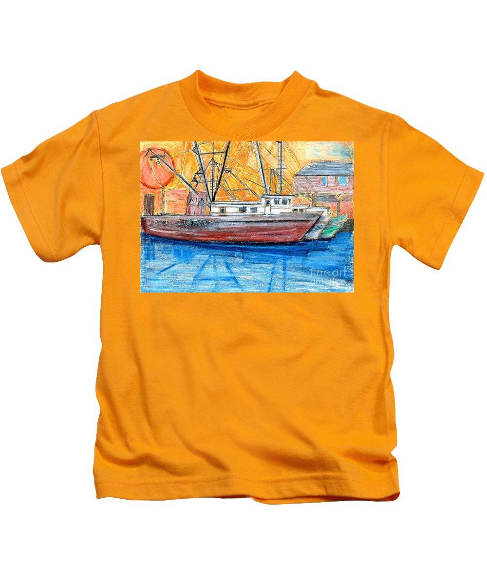 Fishing Kids T-Shirt featuring the drawing Fishing Trawler by Eric Schiabor