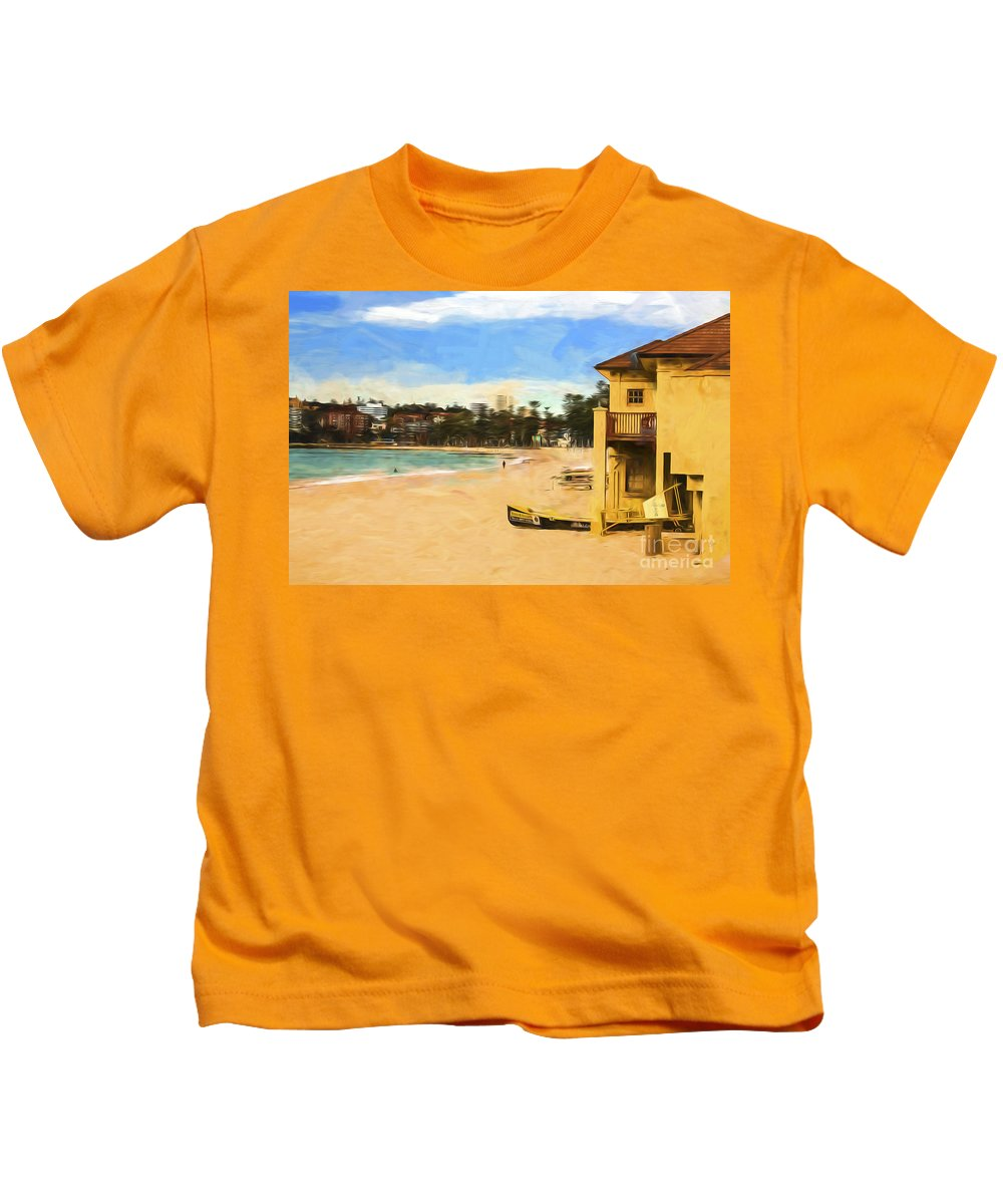 Manly Beach Kids T-Shirt featuring the photograph Summer at Manly by Sheila Smart Fine Art Photography