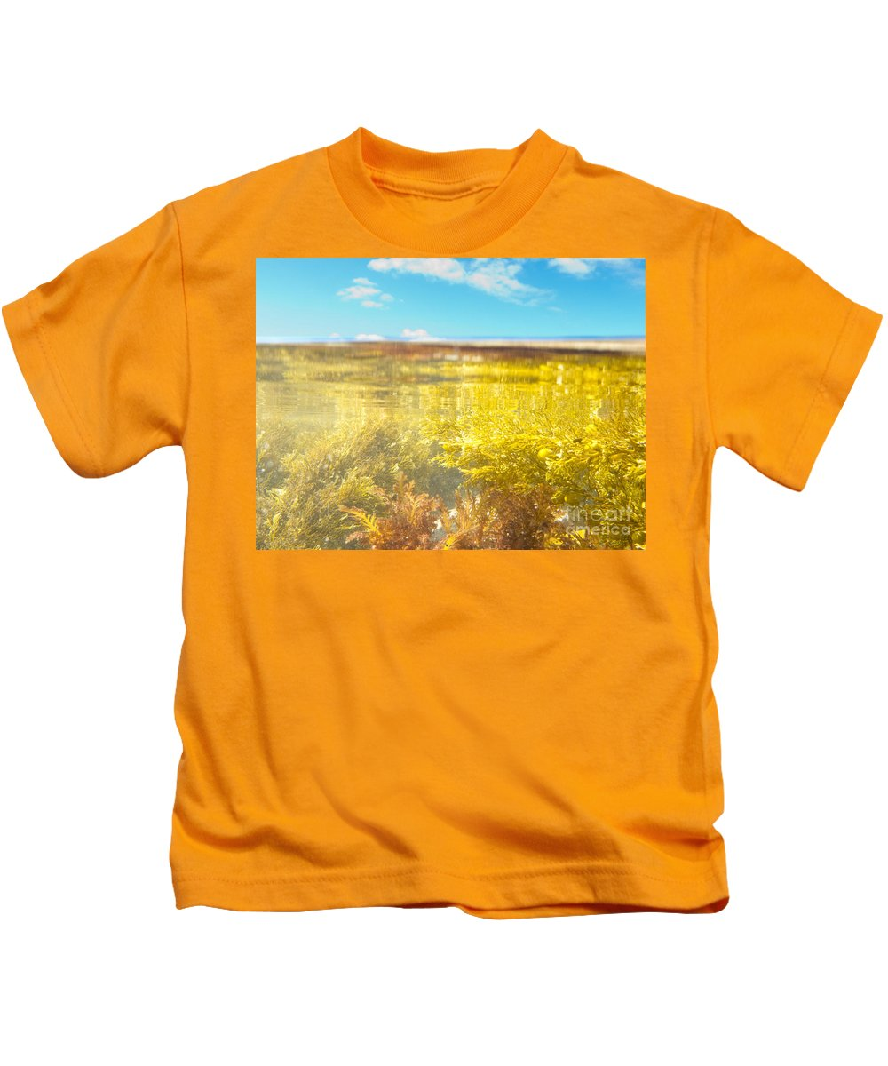 Above Kids T-Shirt featuring the photograph Over-under Split Shot Of Clear Water In Tidal Pool by Stephan Pietzko