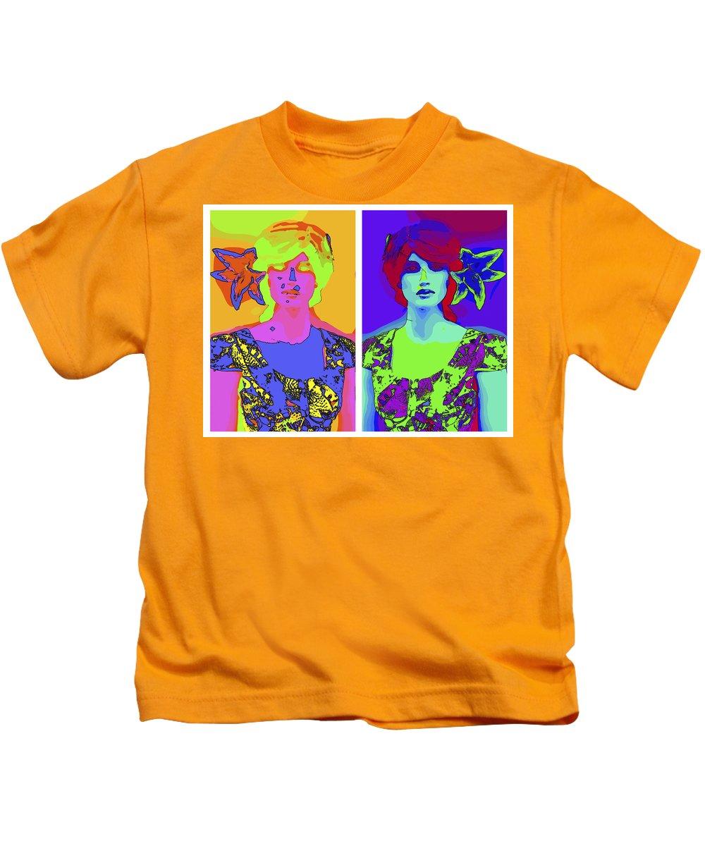 Girl Female Model Doll Pop Art Comic Style Digital Color Colorful Expressionism Kids T-Shirt featuring the digital art Pop Art Girl by Steve K