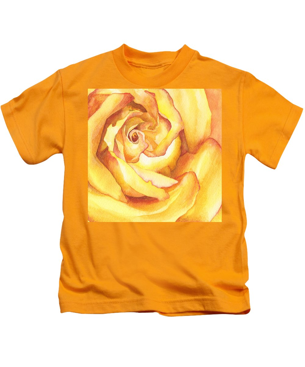 Yellow Rose Kids T-Shirt featuring the painting Yellow Heart by Charne Gooch