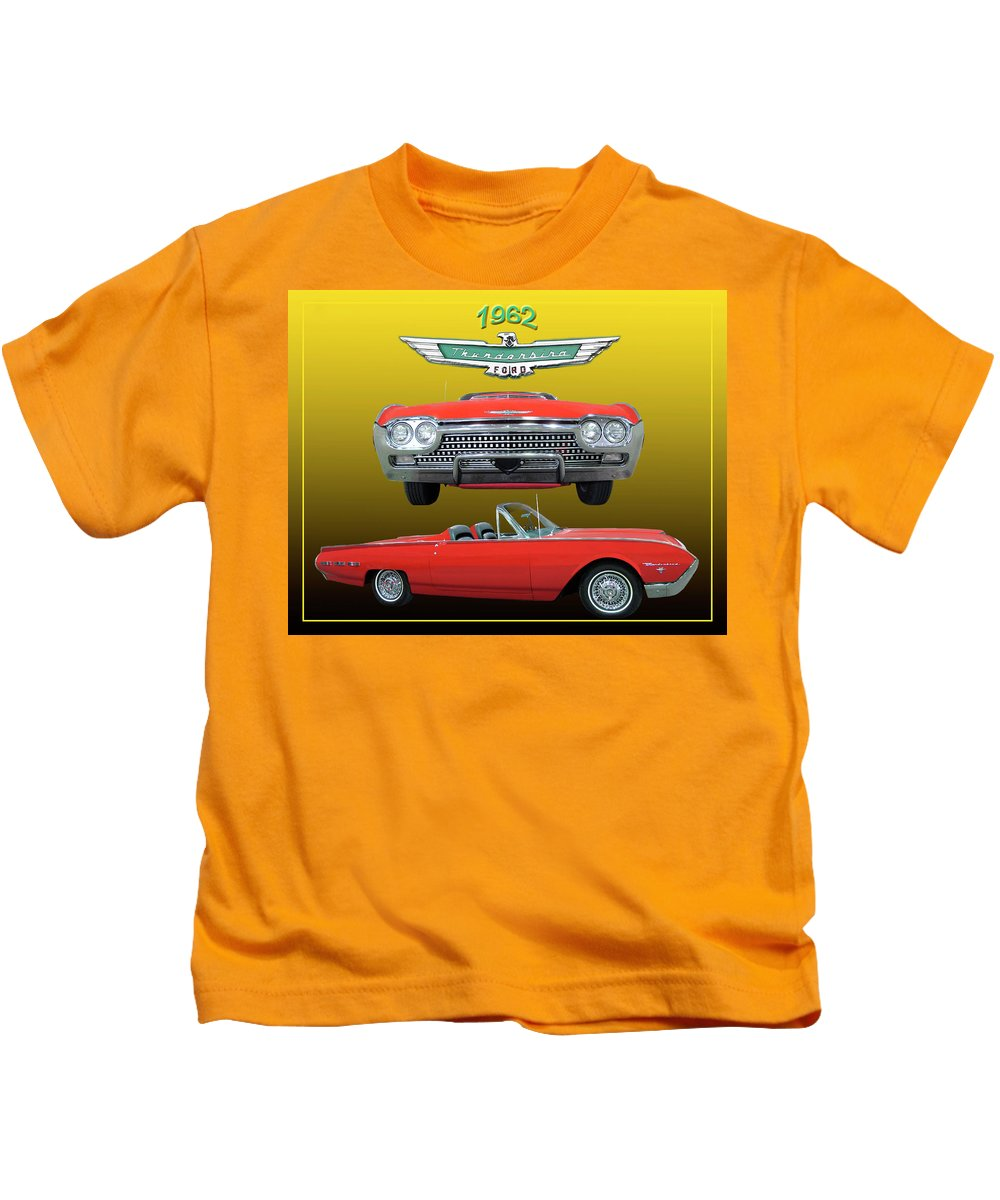 Framed Posters And Prints Of 1962 Thunderbird Sport Landeau Convertibles. Framed Oversize Posters Of Ford Thunderbirds. Posters And Prints Of 1962 T-birds Kids T-Shirt featuring the photograph 1962 Ford T-bird Sport by Jack Pumphrey