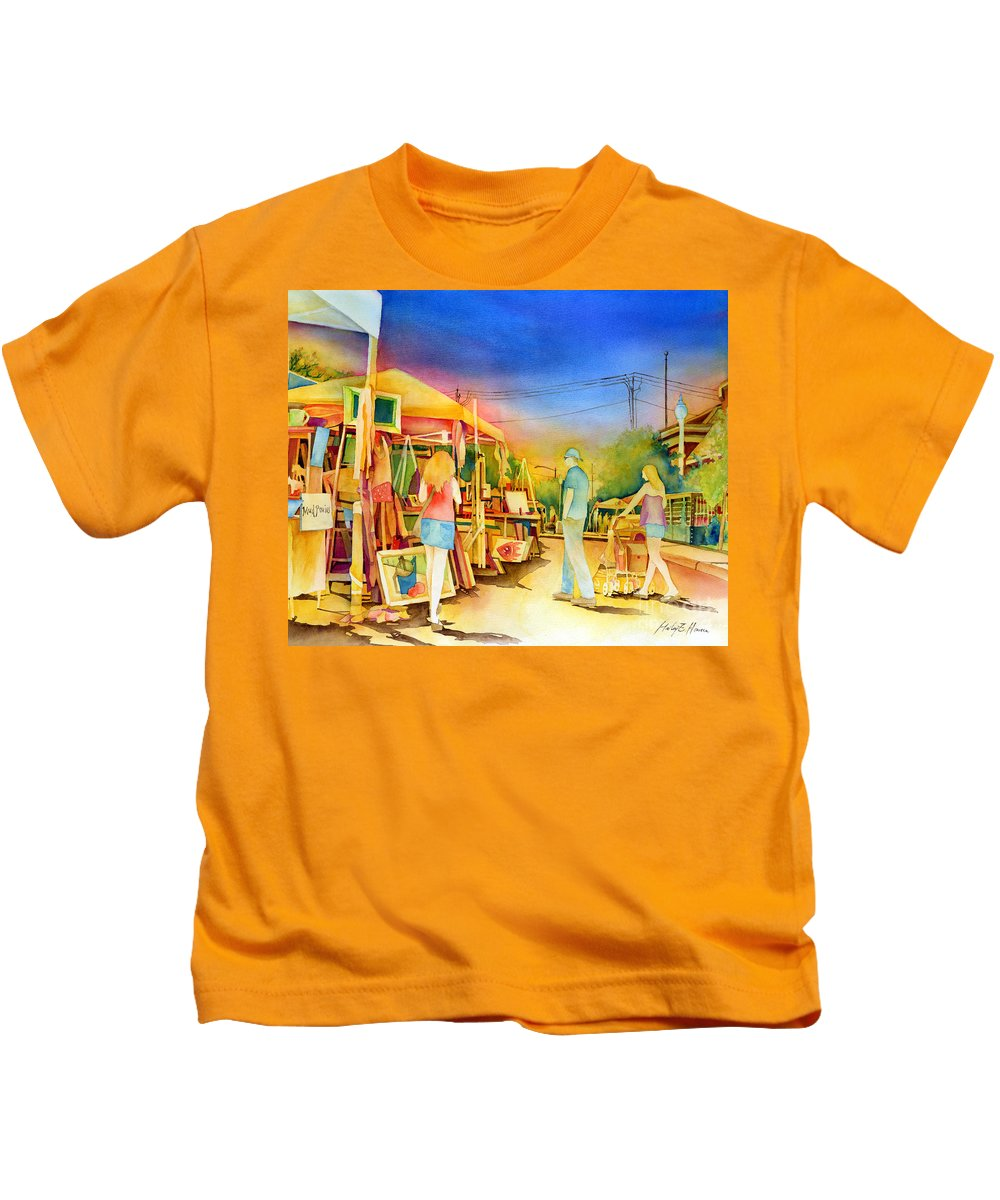 Downtown Bryan Kids T-Shirt featuring the painting Street Art Fair by Hailey E Herrera