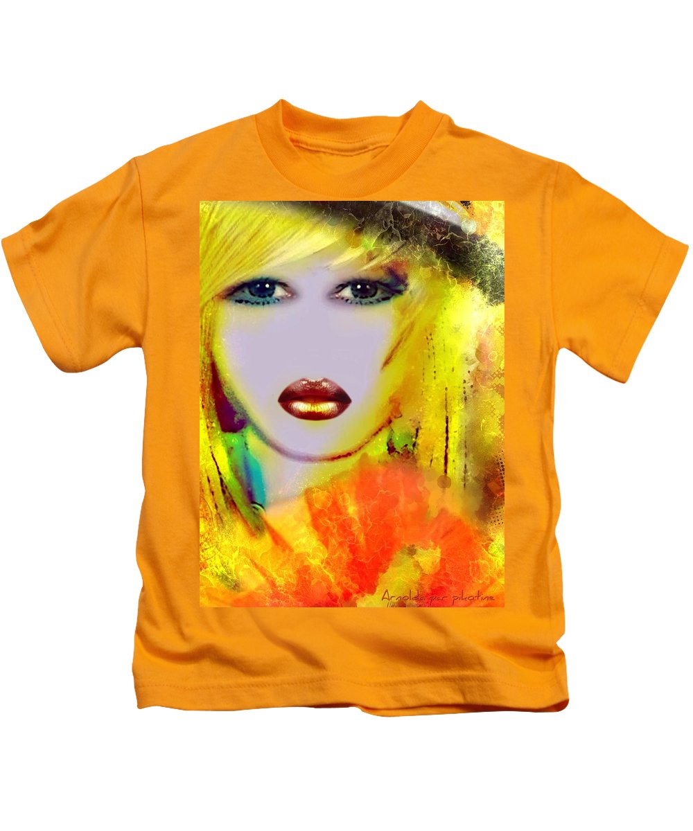 Arnolda Kids T-Shirt featuring the painting Arnolda by Pikotine Art