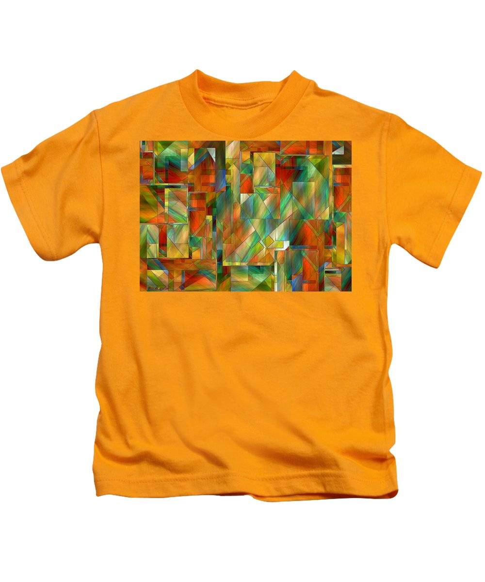 Abstract Kids T-Shirt featuring the painting 53 Doors by RC DeWinter