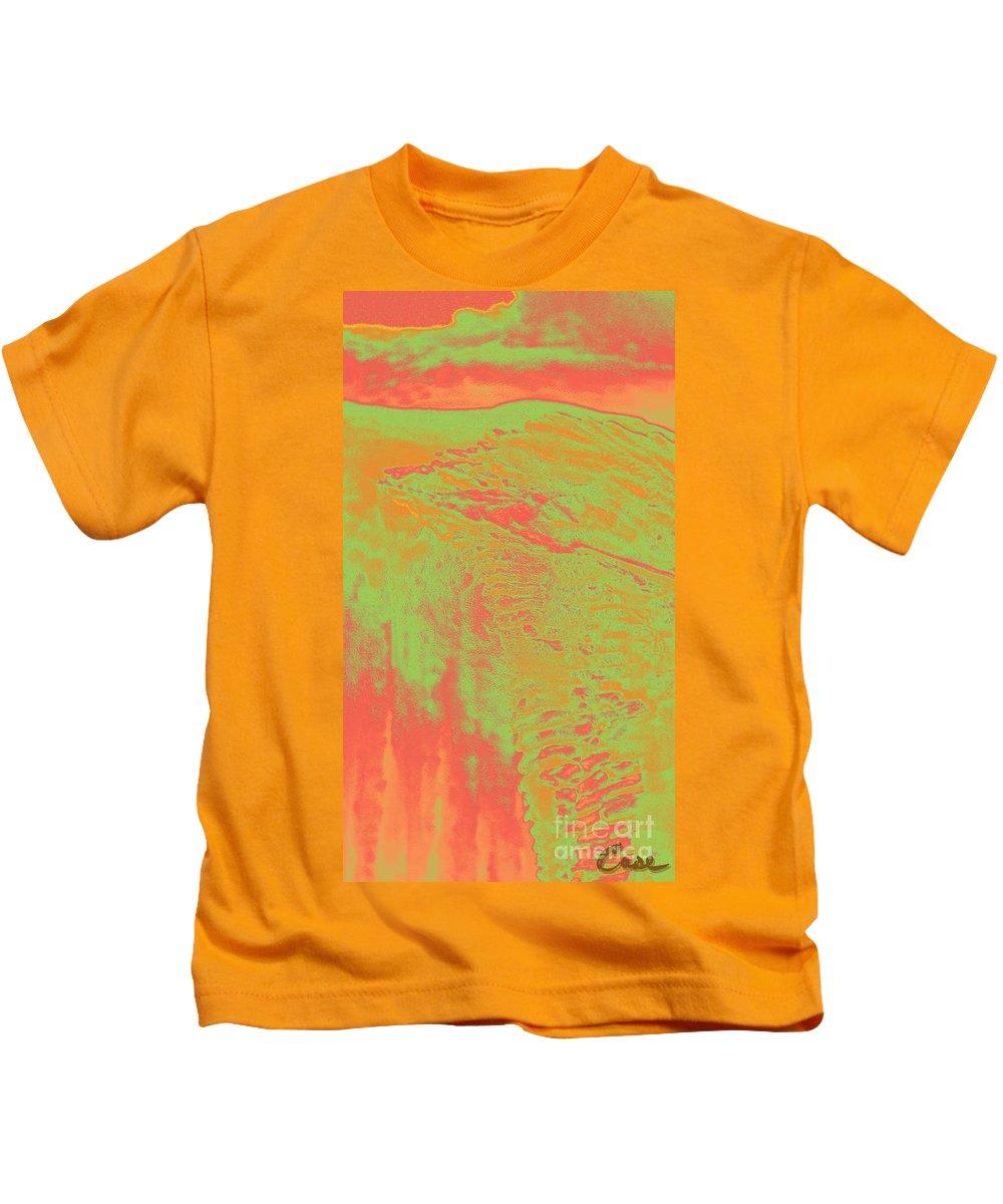 Acid Sky Hill Kids T-Shirt featuring the digital art Acid Sky Hill by Feile Case