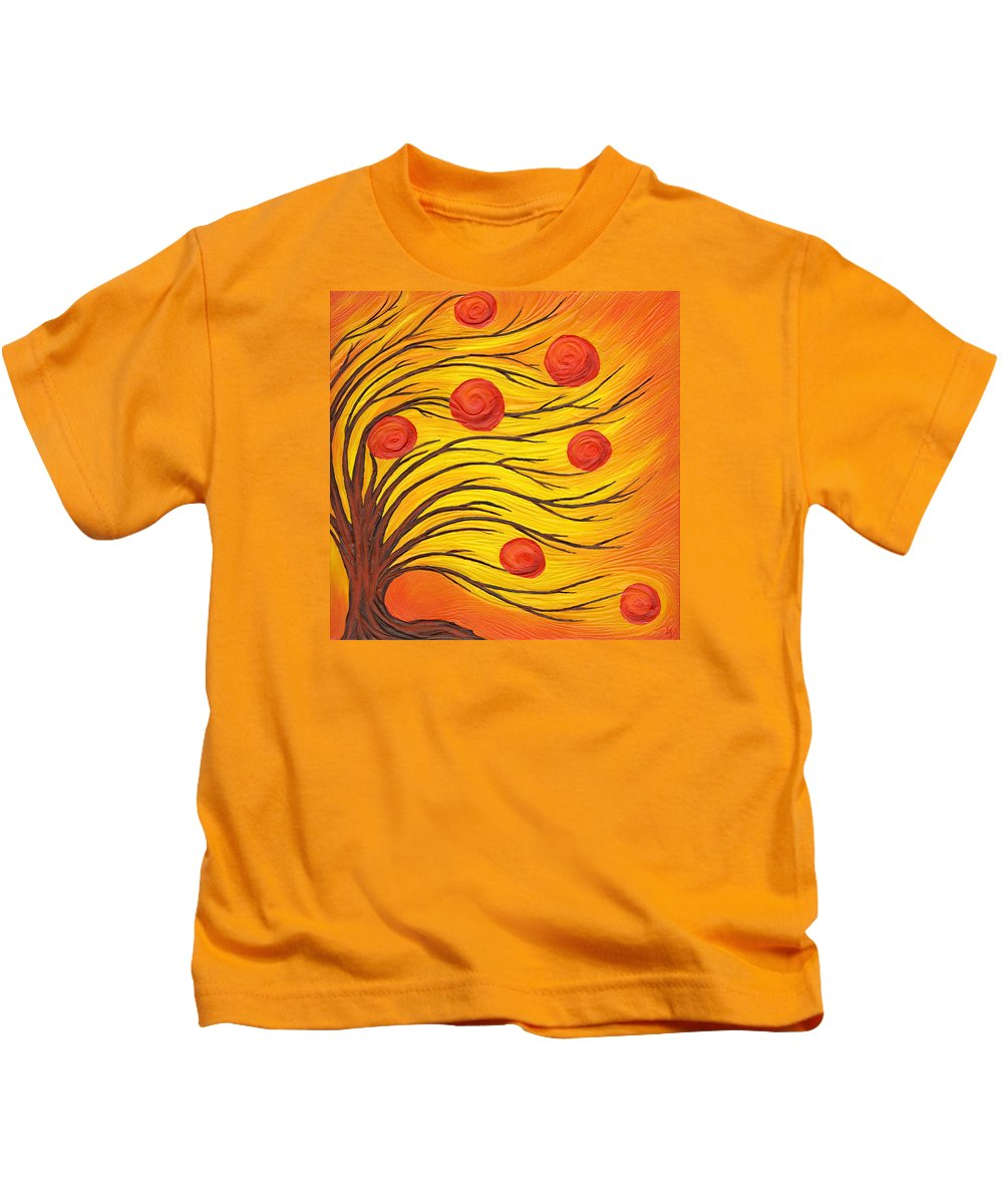 Art Kids T-Shirt featuring the painting Apple Tree by Laura Teti
