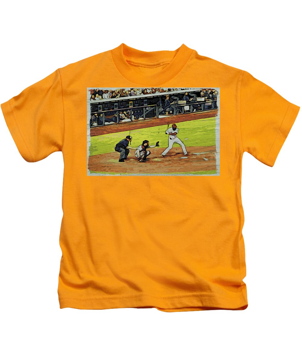 Phillies Kids T-Shirt featuring the photograph At Bat by Alice Gipson