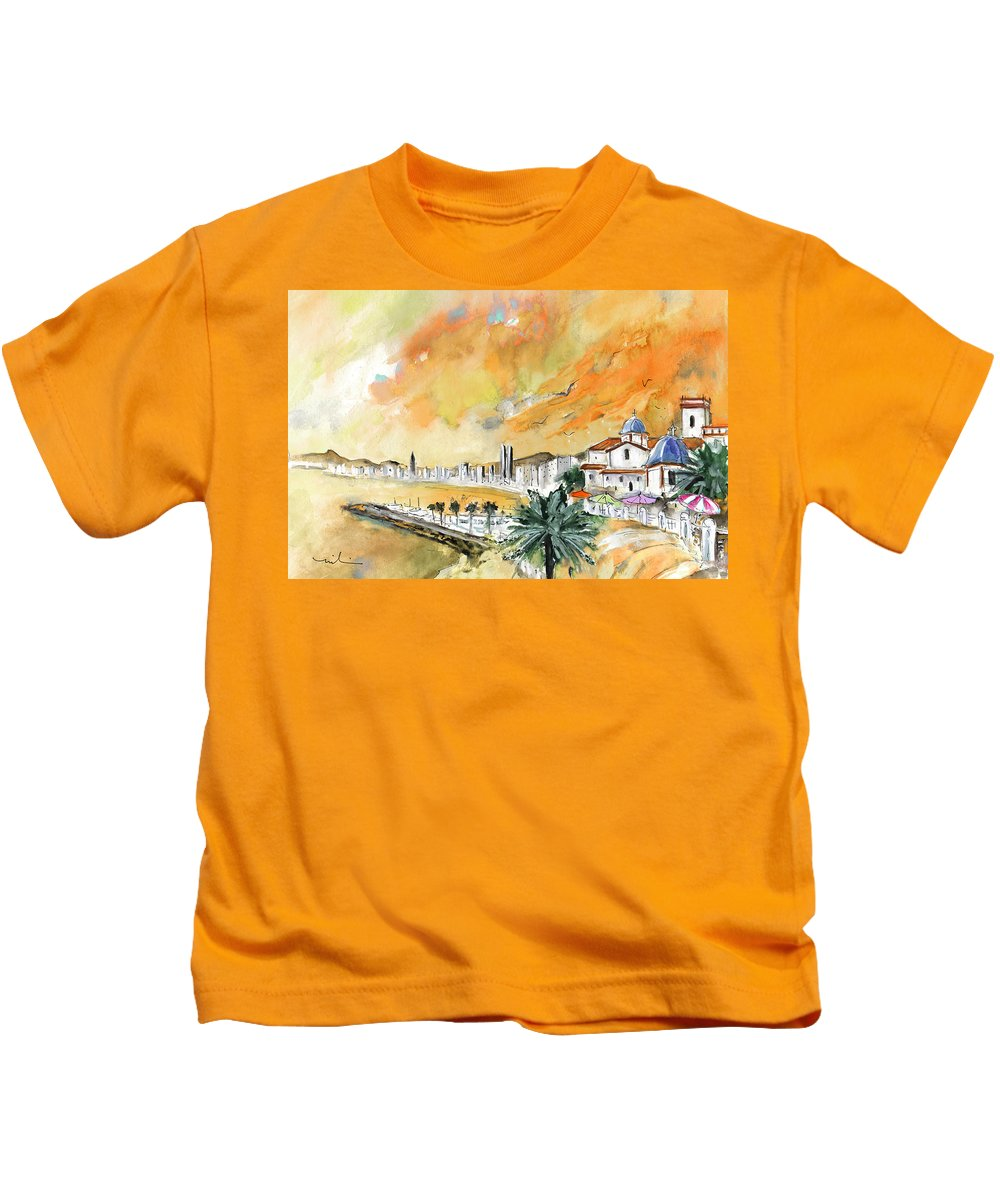 Travel Kids T-Shirt featuring the painting Benidorm Old Town by Miki De Goodaboom