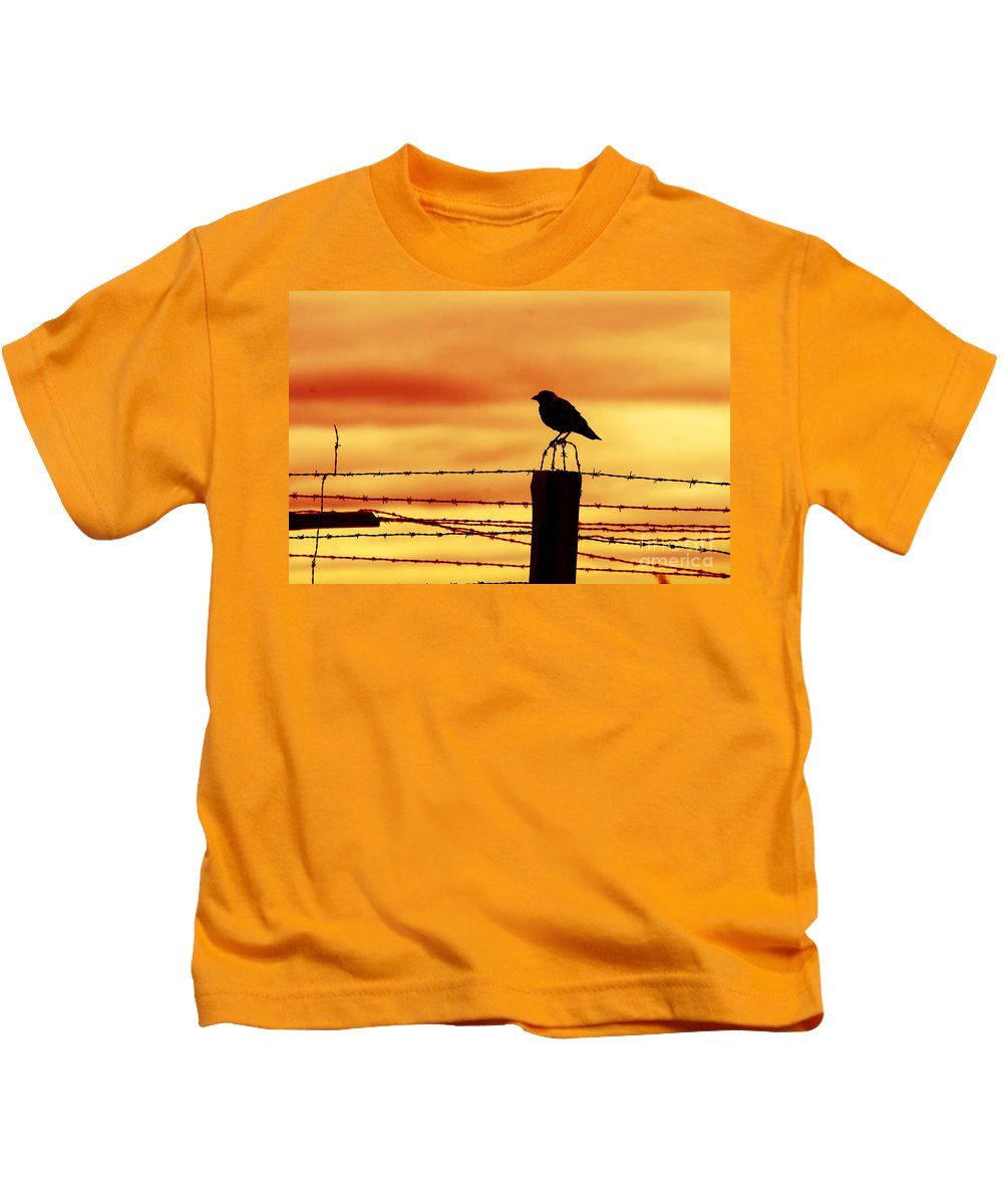 Prison Kids T-Shirt featuring the photograph Bird Sitting On Prison Fence by Michal Bednarek
