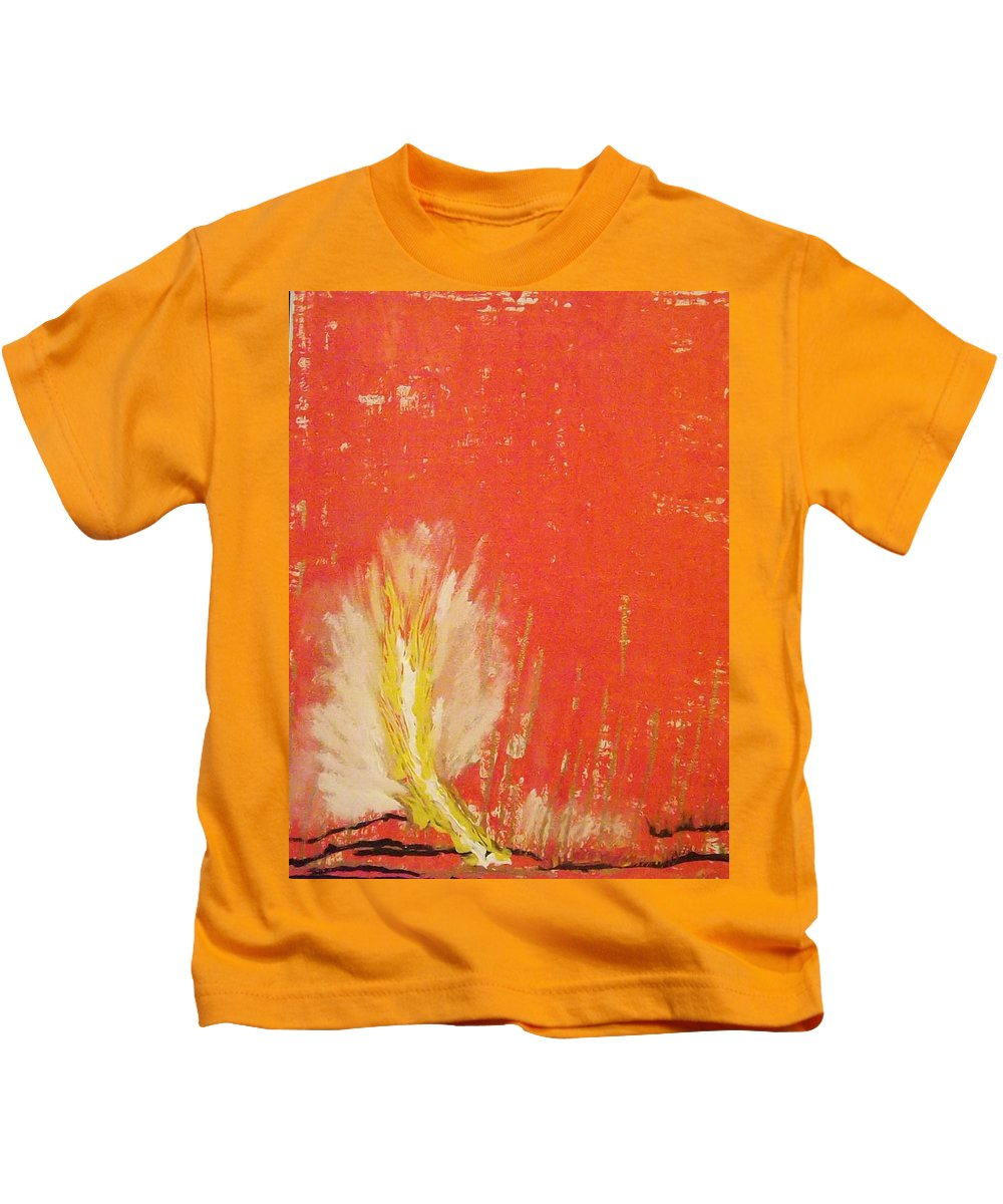 Landscape Kids T-Shirt featuring the painting Bonfire by Denise Morgan
