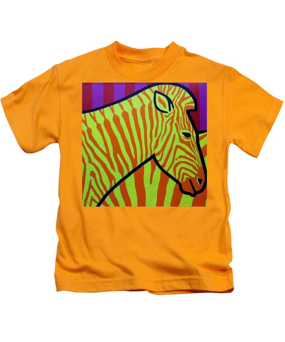 Irish Kids T-Shirt featuring the painting Cadmium Zebra by John Nolan