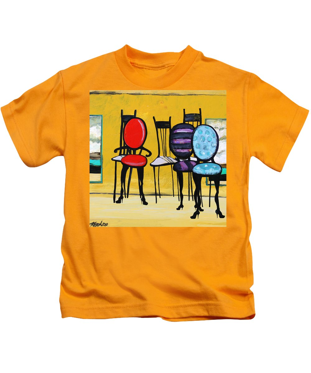 Chairs Painting Kids T-Shirt featuring the painting Cafe Chairs by Karon Melillo DeVega