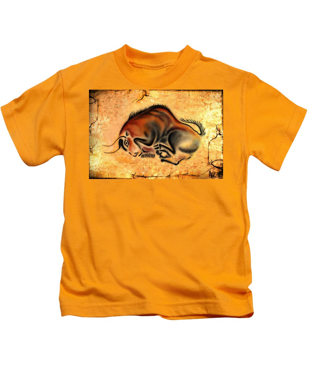 Cave Painting Kids T-Shirt featuring the drawing Cave Painting by Alessandro Della Pietra