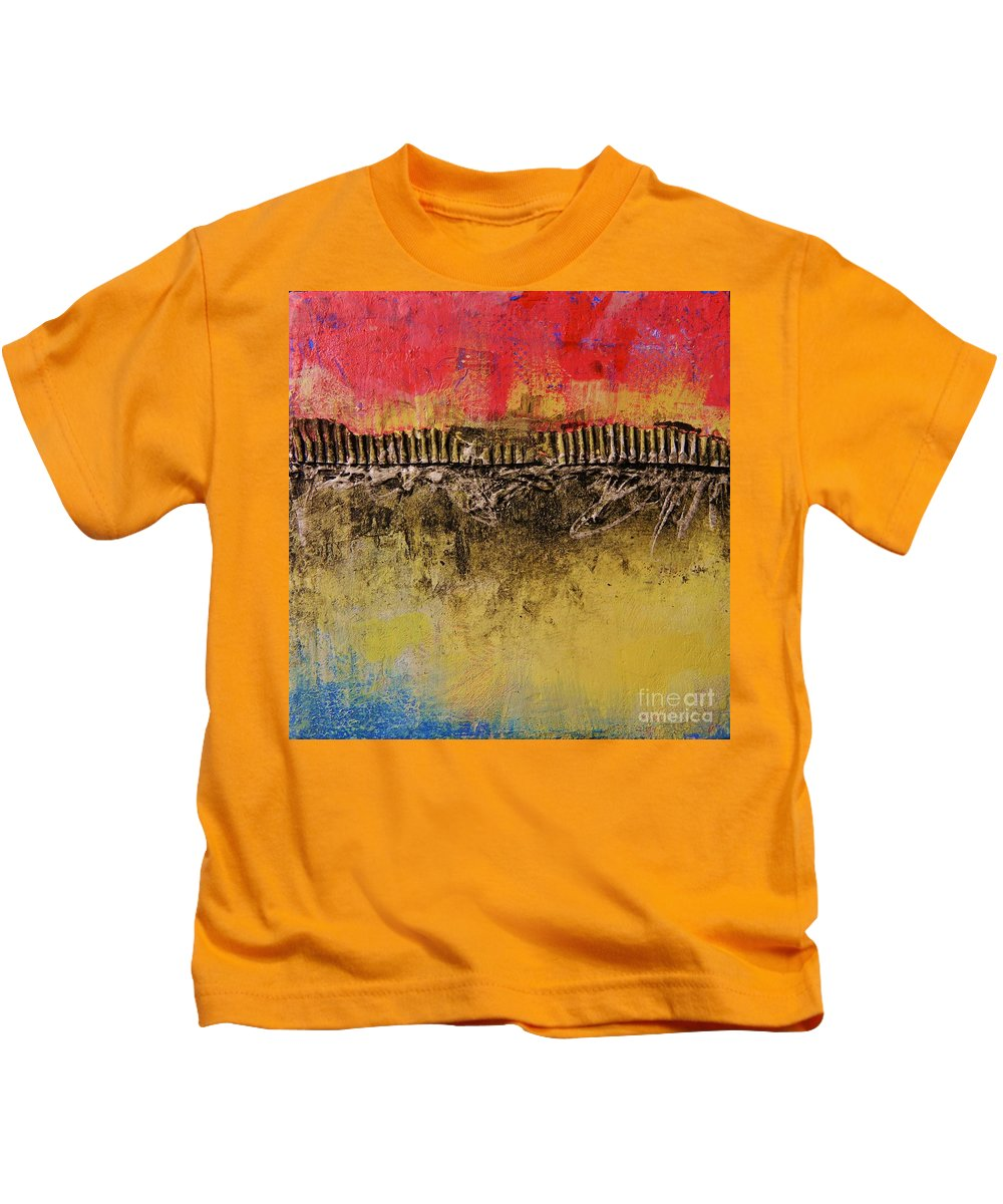 Abstract Kids T-Shirt featuring the painting Construction by Kate Marion Lapierre