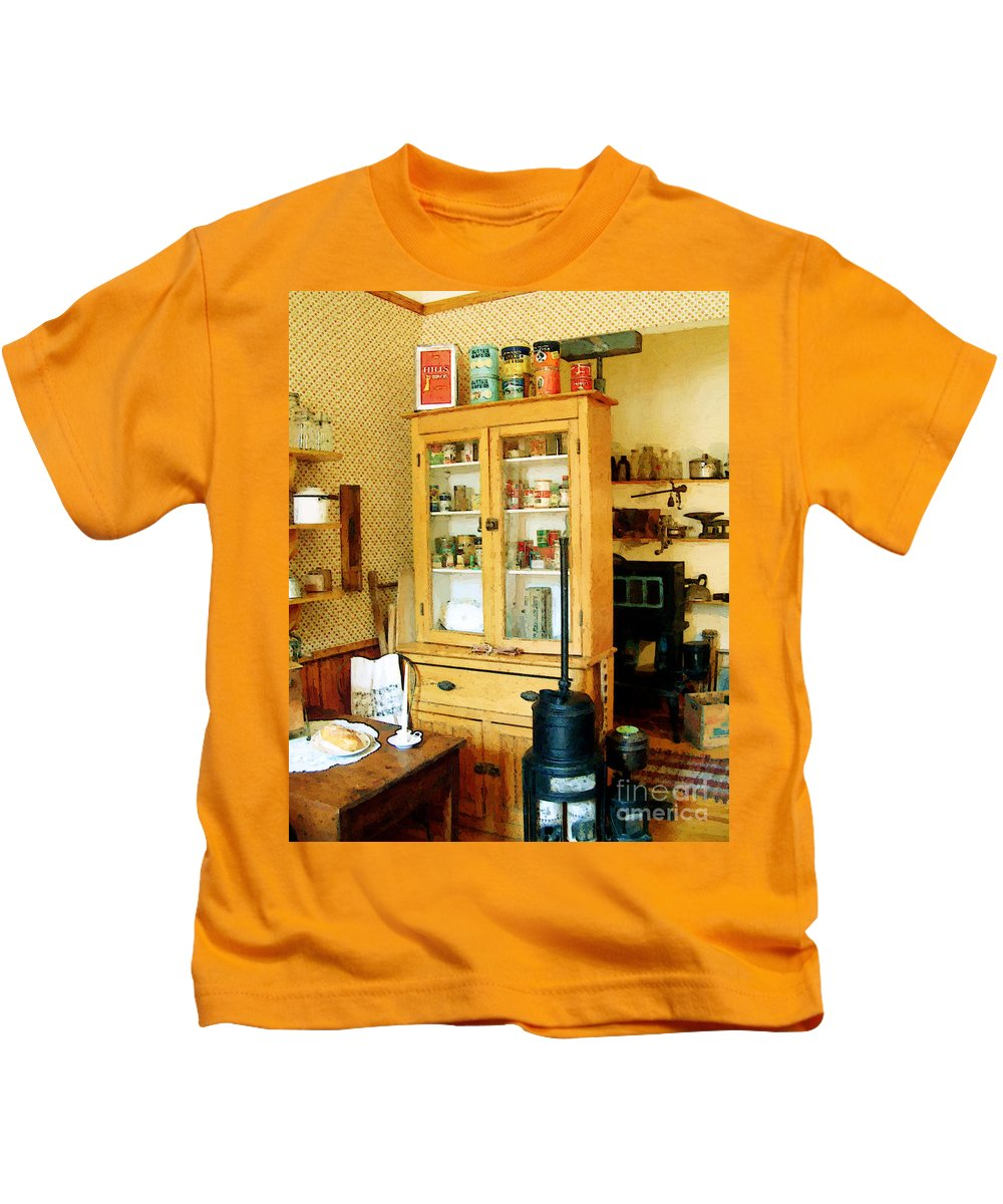 Antiques Kids T-Shirt featuring the painting Country Kitchen Sunshine IIi by RC deWinter
